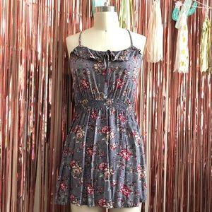 Grey Floral Summer Dress